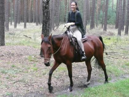 Silke und Carino im Wald beim Ausritt