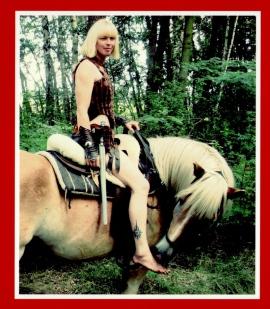 junge Frau im Ritter - Kostüm auf dem Pferd durch den Wald